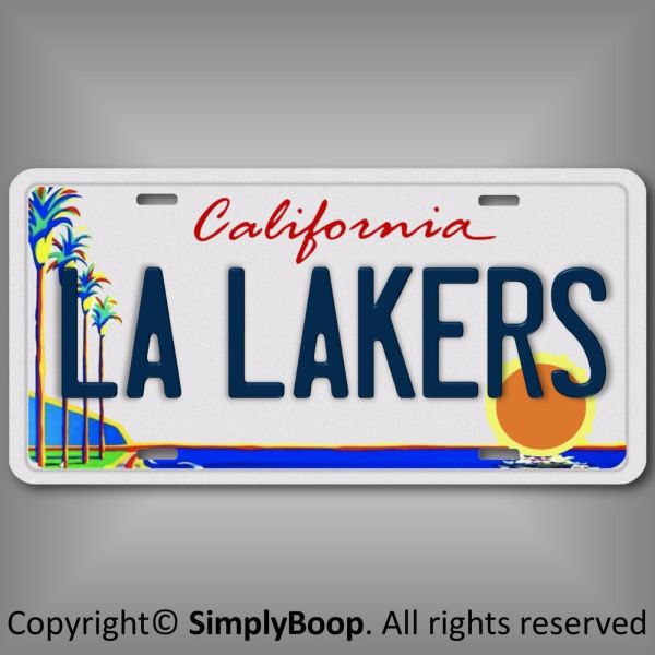 Los Angeles L Lakers Basketball Team Aluminum License Plate Tag California
