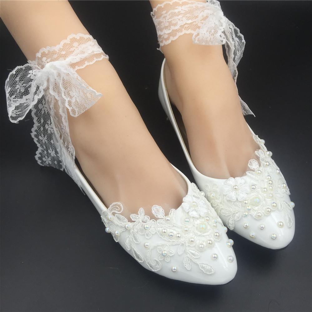 Women Ribbon Style Bridal Ballet FlatsWedding Flat Shoes