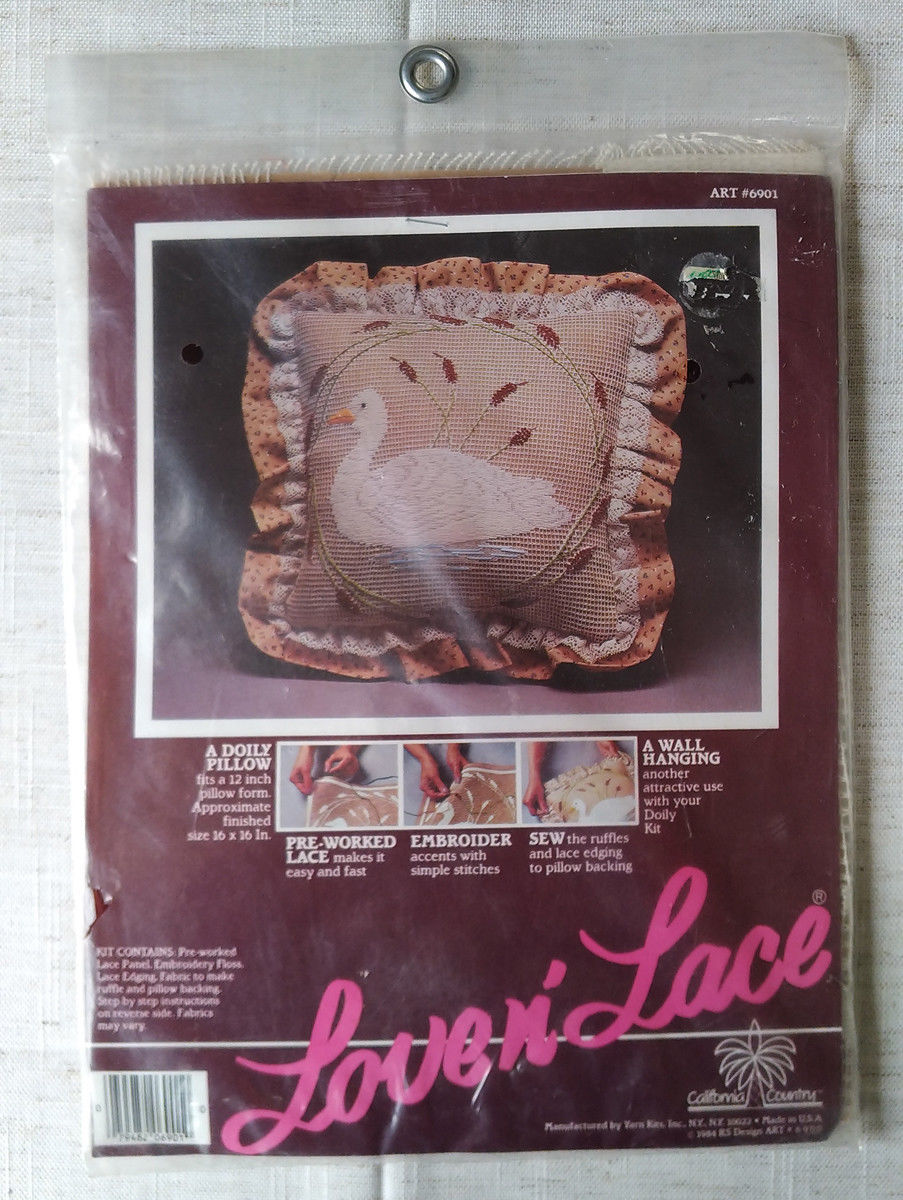 Love nLace a Doily Pillow making kit 6901 by Yarn Kits