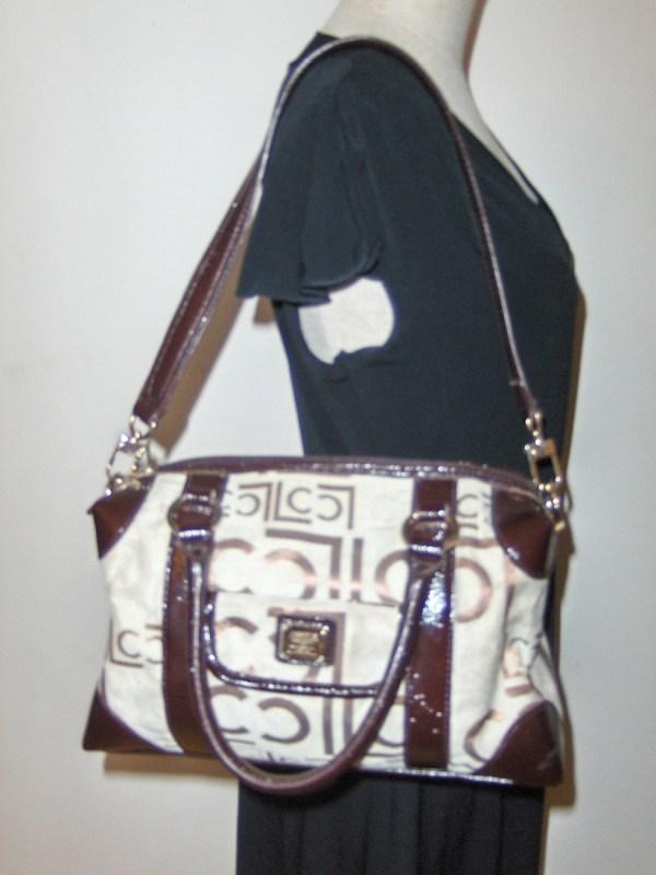 Liz Claiborne Satchel Purse Signature Logo Handbag Tote
