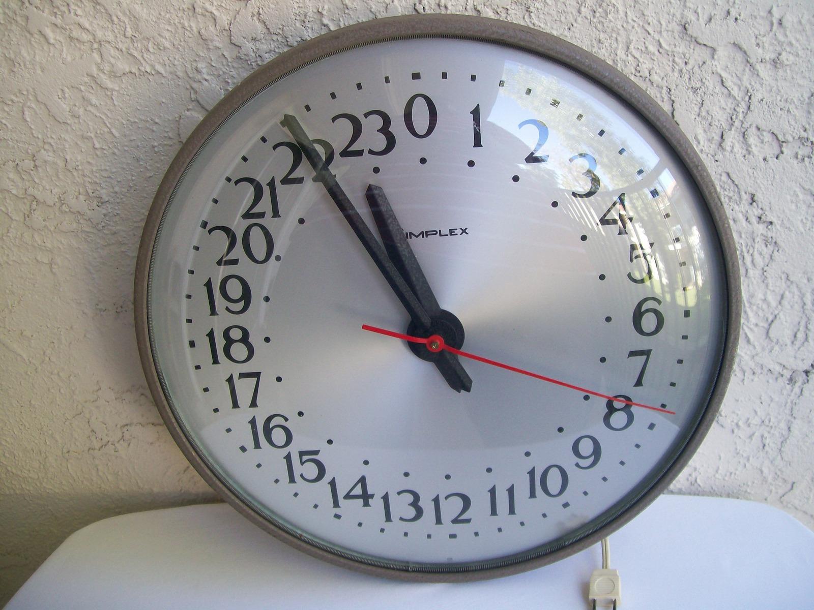 Vintage Simplex 24 Hour Industrial Wall Clock Military