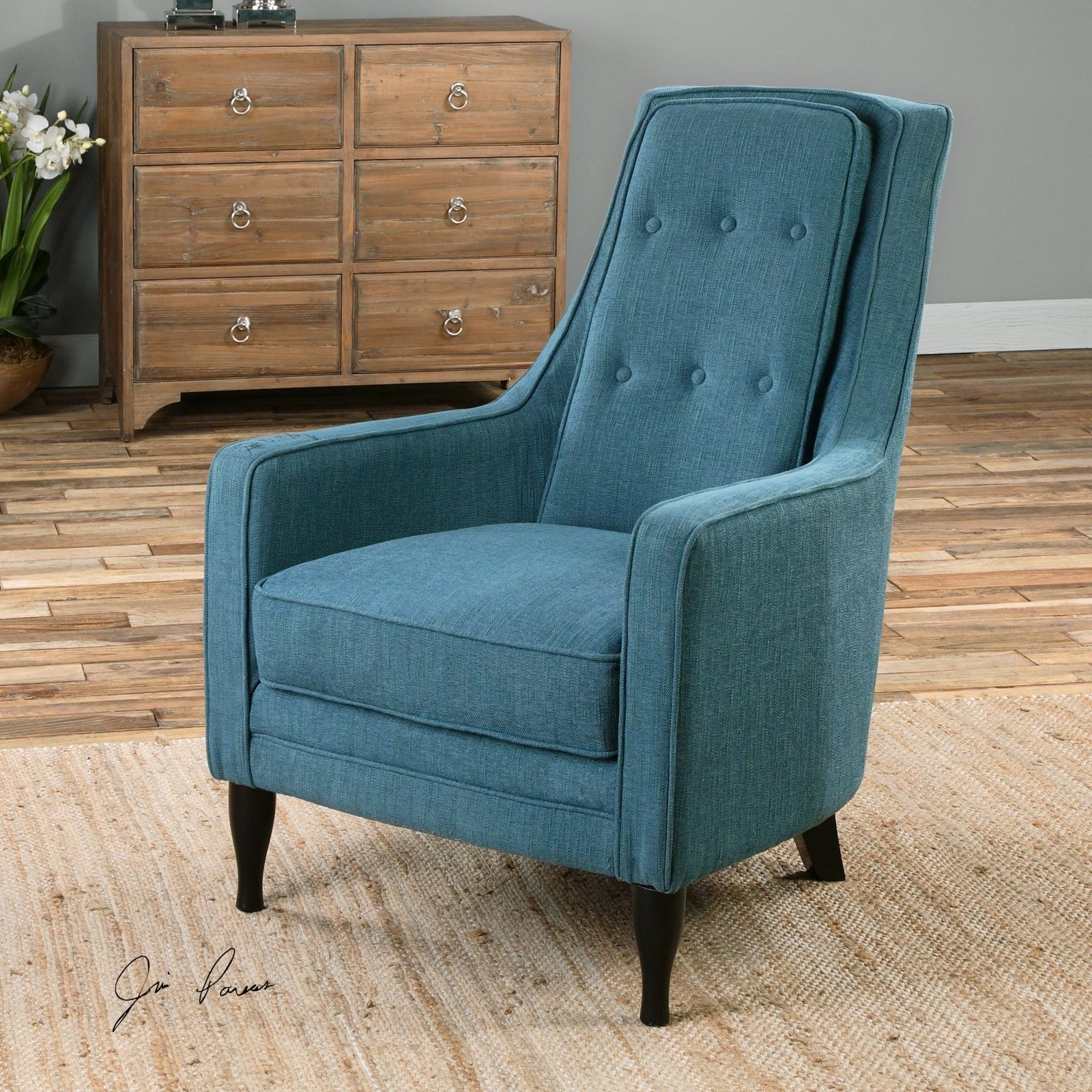 Blue Accent Chair With Arms Peacock Plush Blue Arm High Back Accent Club Chair Ebony