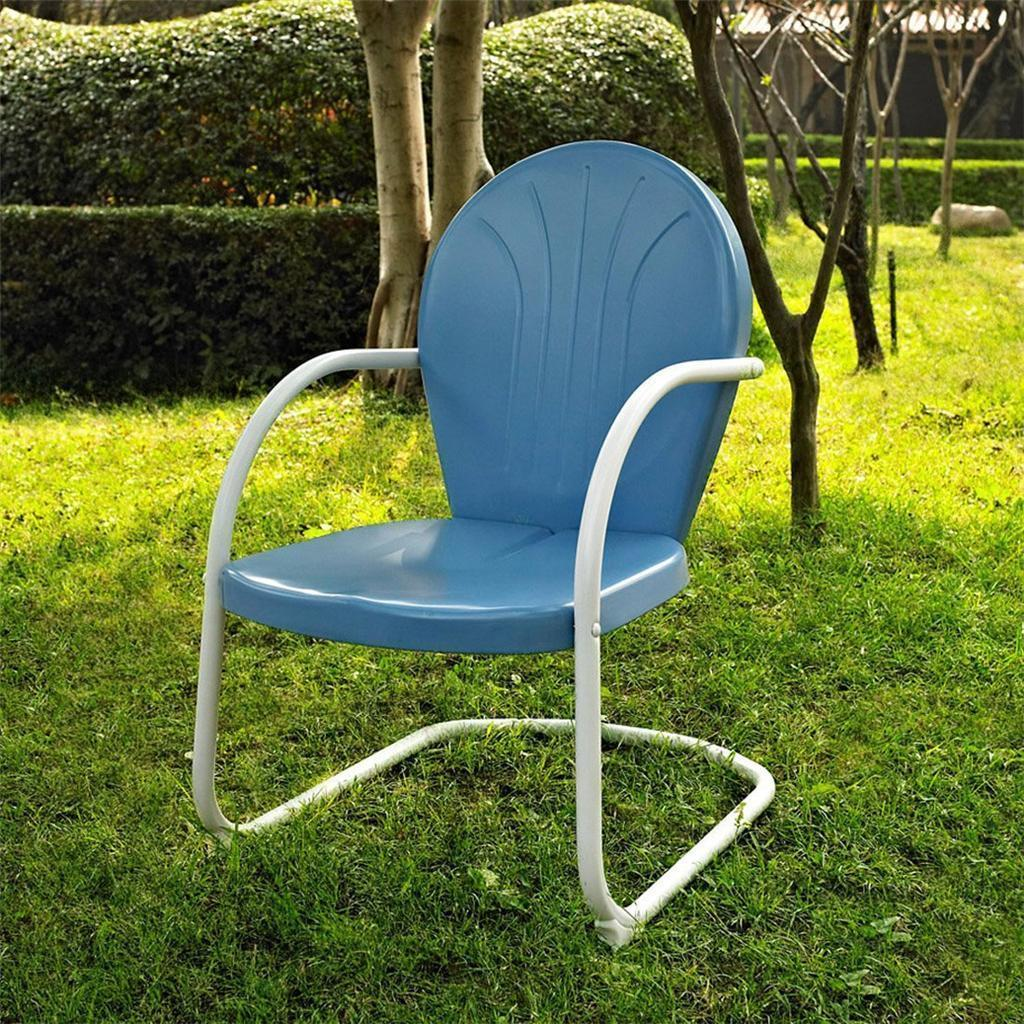 retro metal patio chairs classroom rocking chair blue white outdoor vintage style