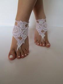 White Beach Wedding Barefoot Sandals