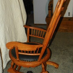Antique Rocking Chair Leather Seat Mexican Painted Chairs Oak Carved Spindle Back Rocker With Black - Post-1950