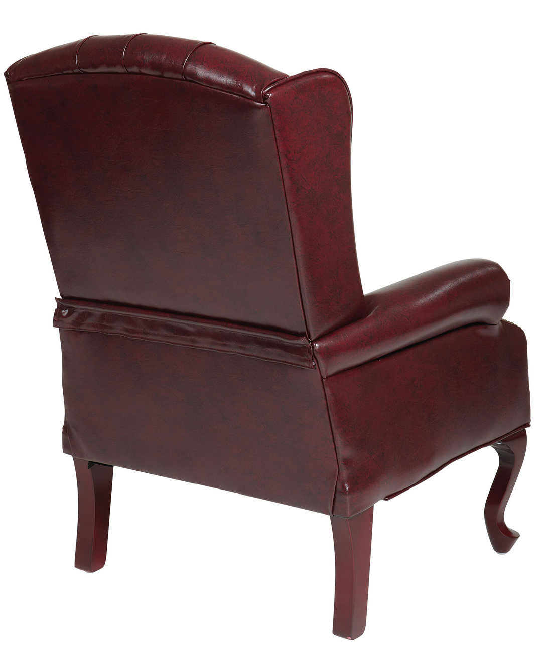 traditional wingback chair outdoor cushion covers australia oxblood vinyl tufted back queen anne wing lounge