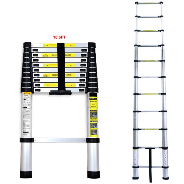 10.5 Ft Aluminium Multi-purpose Telescopic Ladder Extension Foldable Steps - Ladders