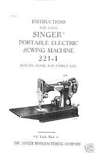 Singer 221-1 Featherweight Sewing Machine Ownr Manual M