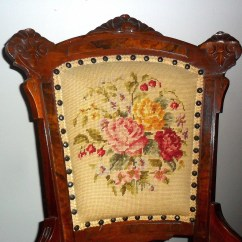 Antique Needlepoint Chair Plastic Covers For Living Room Victorian Parlor Unknown