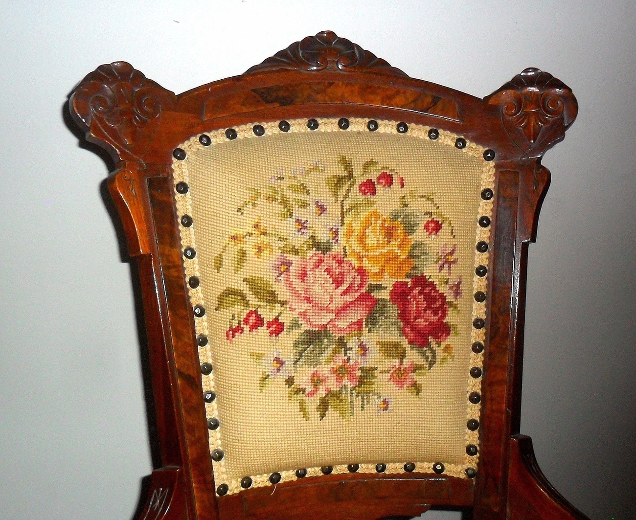 victorian parlor chairs camo camp chair antique needlepoint unknown