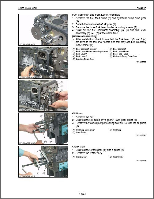 Kubota L2800 L3400 Tractor WSM Service Workshop Manual on