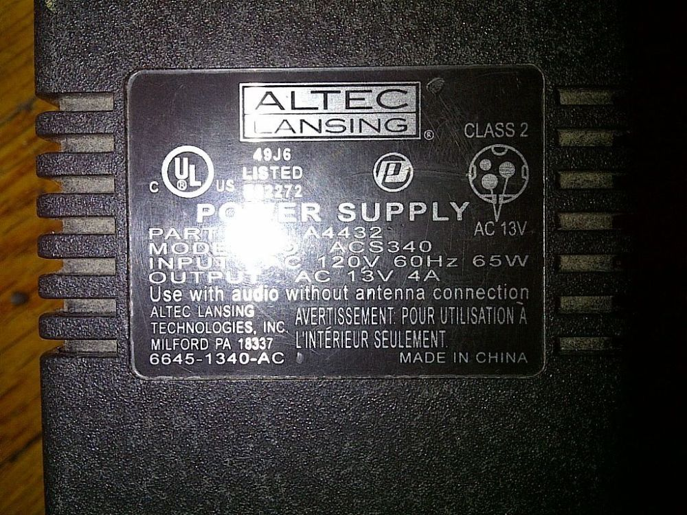 medium resolution of altec lansing computer speaker system subwoofer acs340 1792508792