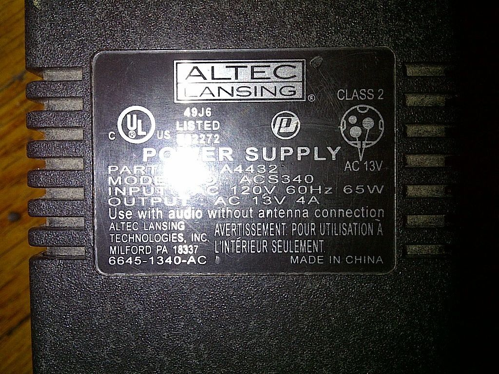 hight resolution of altec lansing computer speaker system subwoofer acs340 1792508792