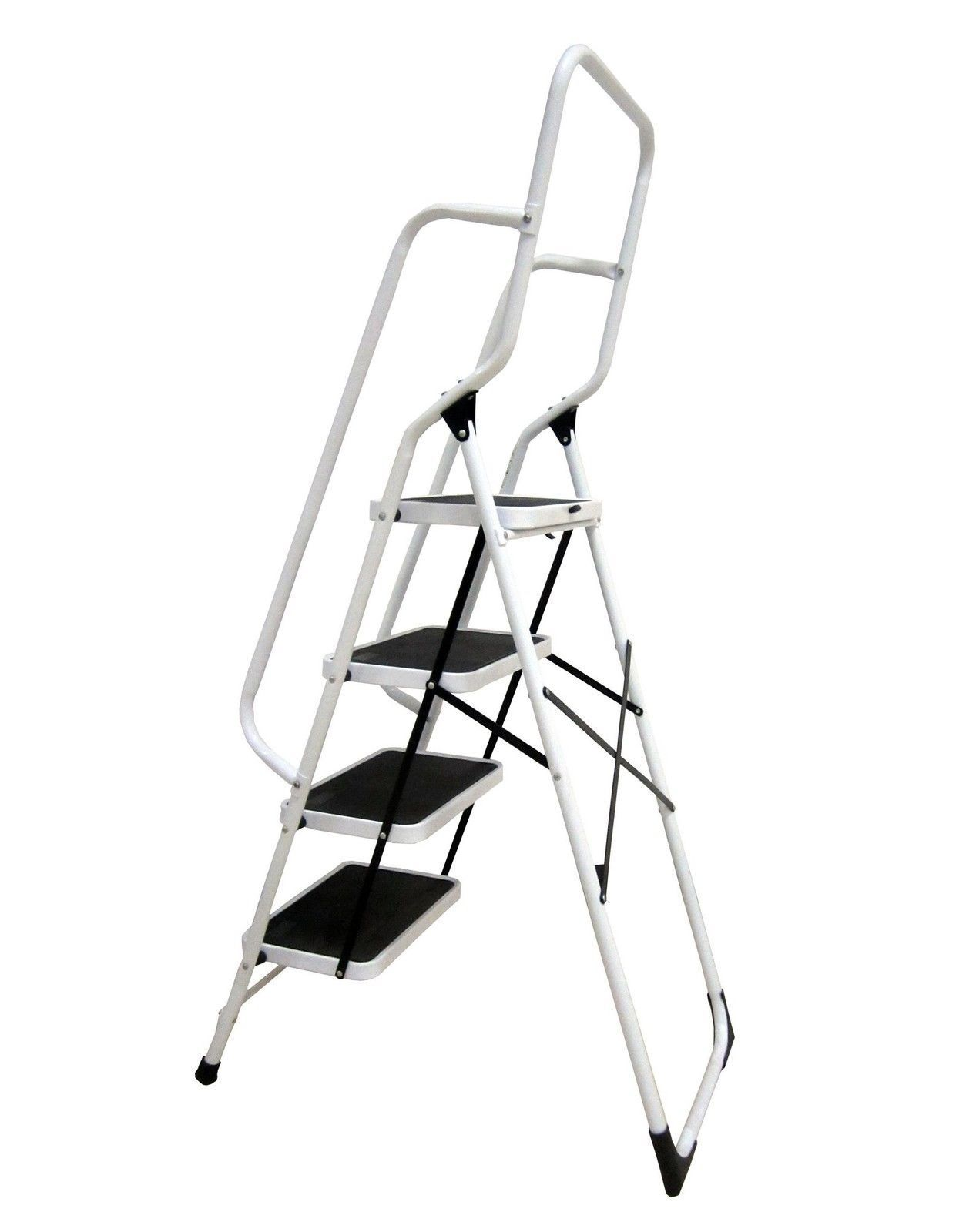 Heavy Duty Foldable 4 Step Ladder With Safety Handrail Non Slip Steps Steel