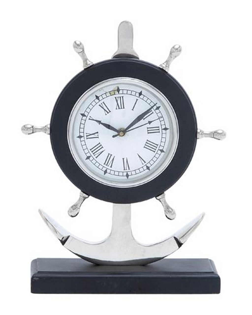 Anchor Ship Wheel Roman Numeral Clock With Second Hand