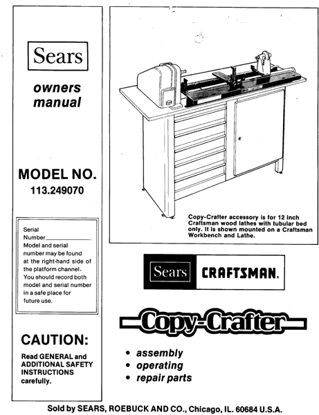 Sears Craftsman Lathe Copy Crafter Manual 113.249070