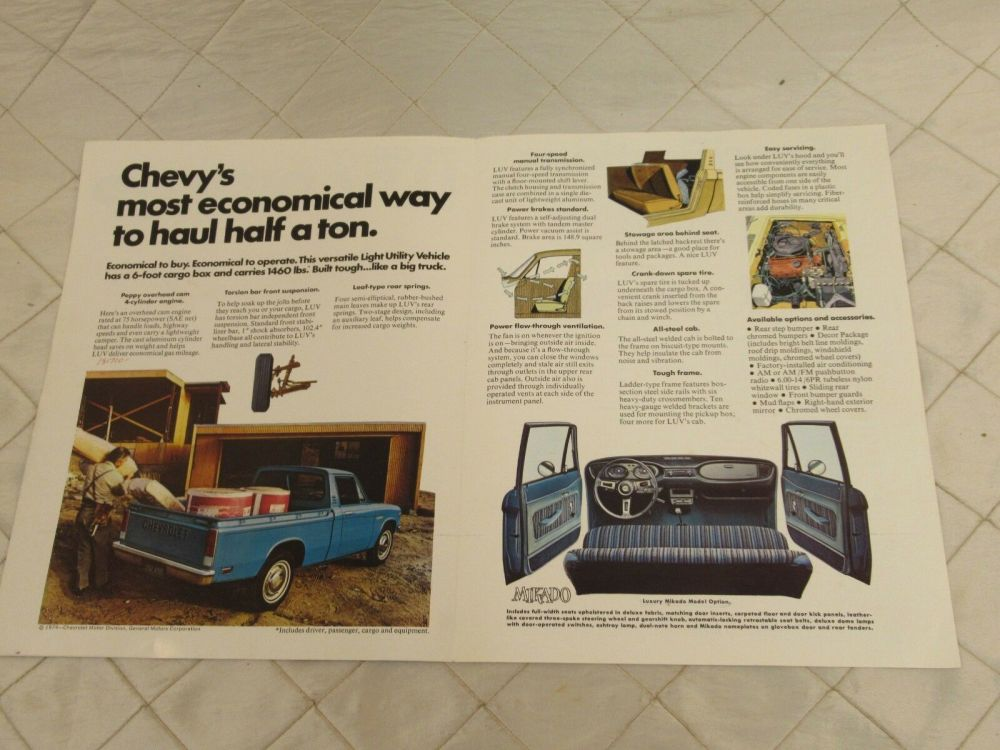 medium resolution of vintage 75 chevy luv pick up truck brochure specifications original chevrolet