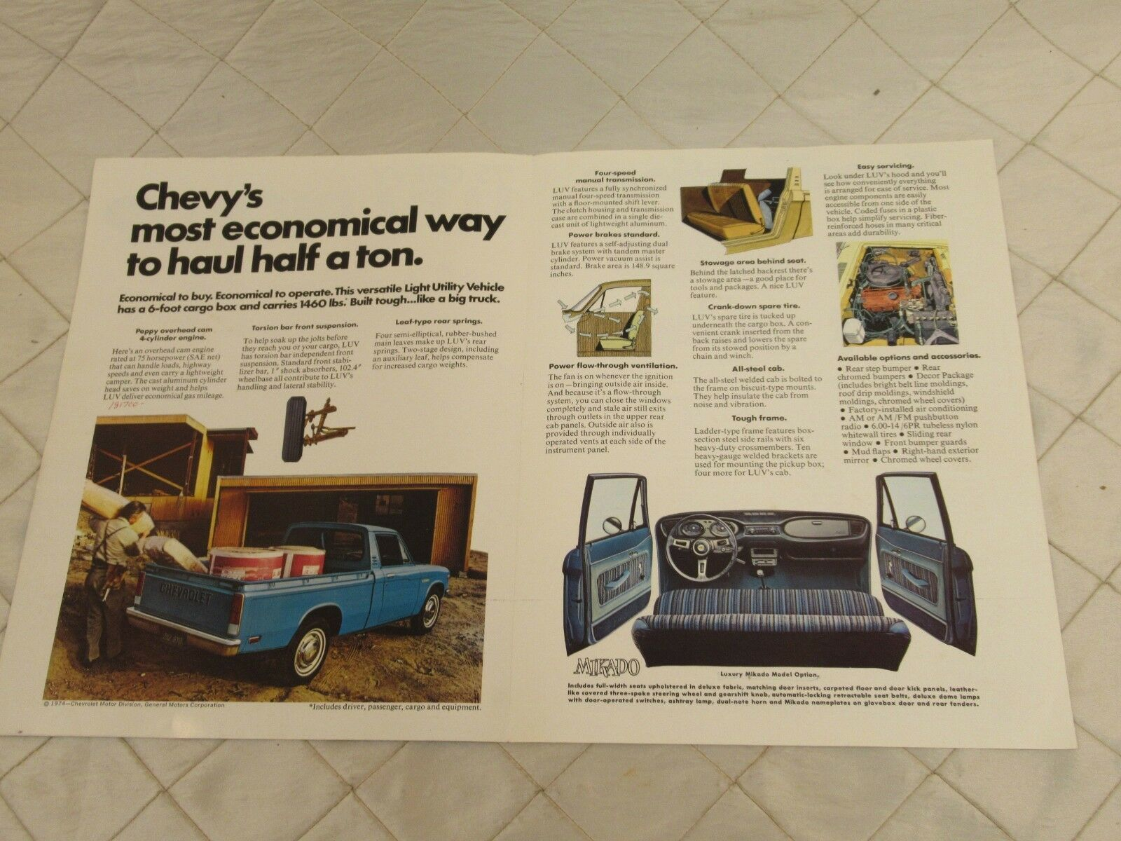 hight resolution of vintage 75 chevy luv pick up truck brochure specifications original chevrolet