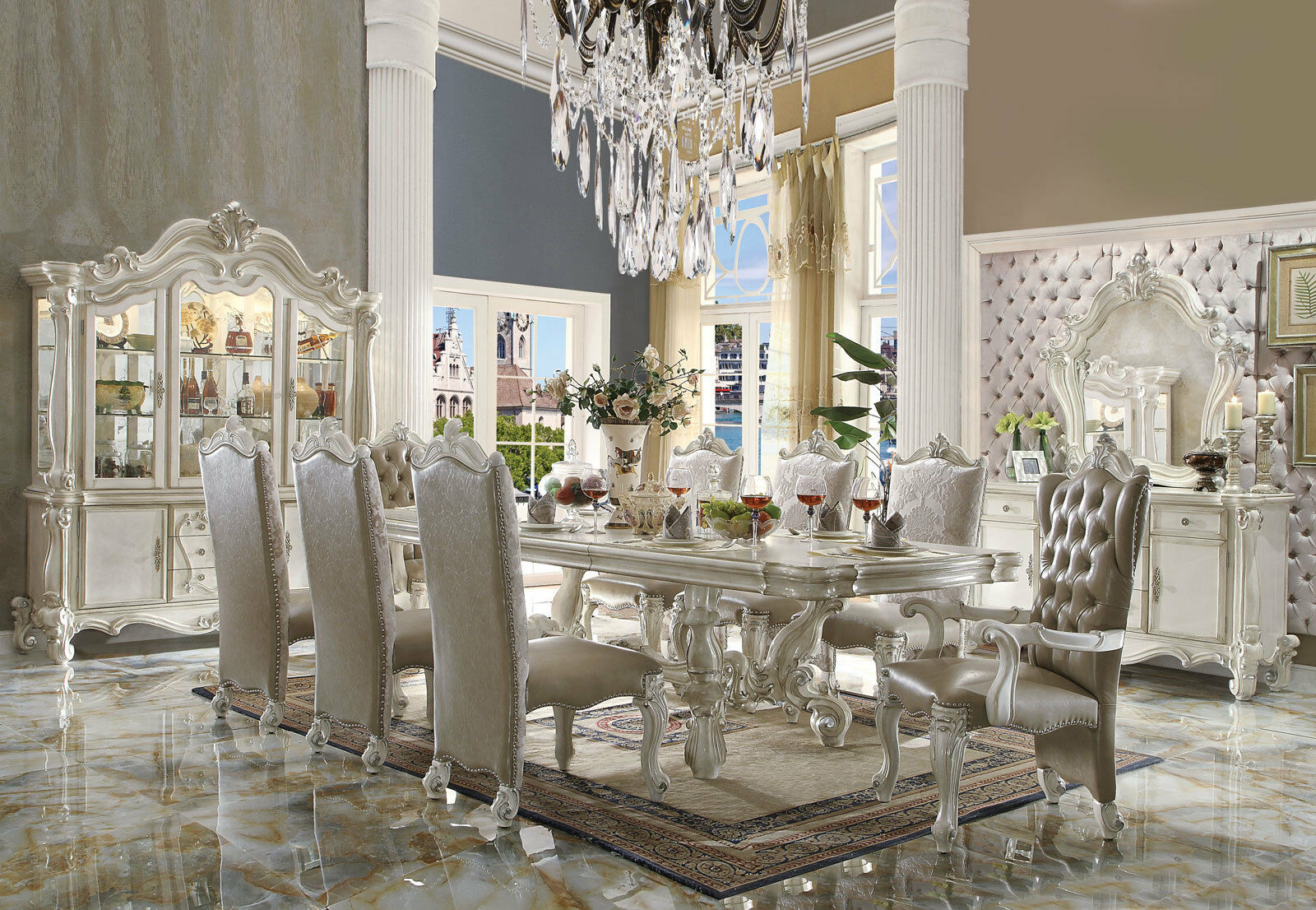 VICTORIA Traditional Ivory White Dining Room Set 9pcs