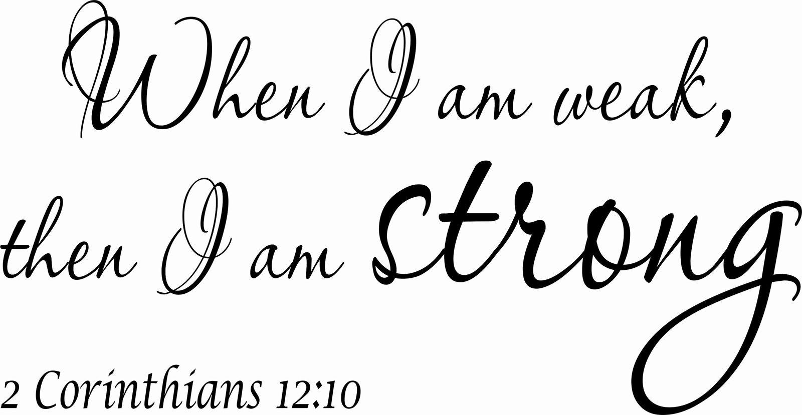 2 Corinthians 12:10 V2 11 x 22 Bible Verse Wall Decal by