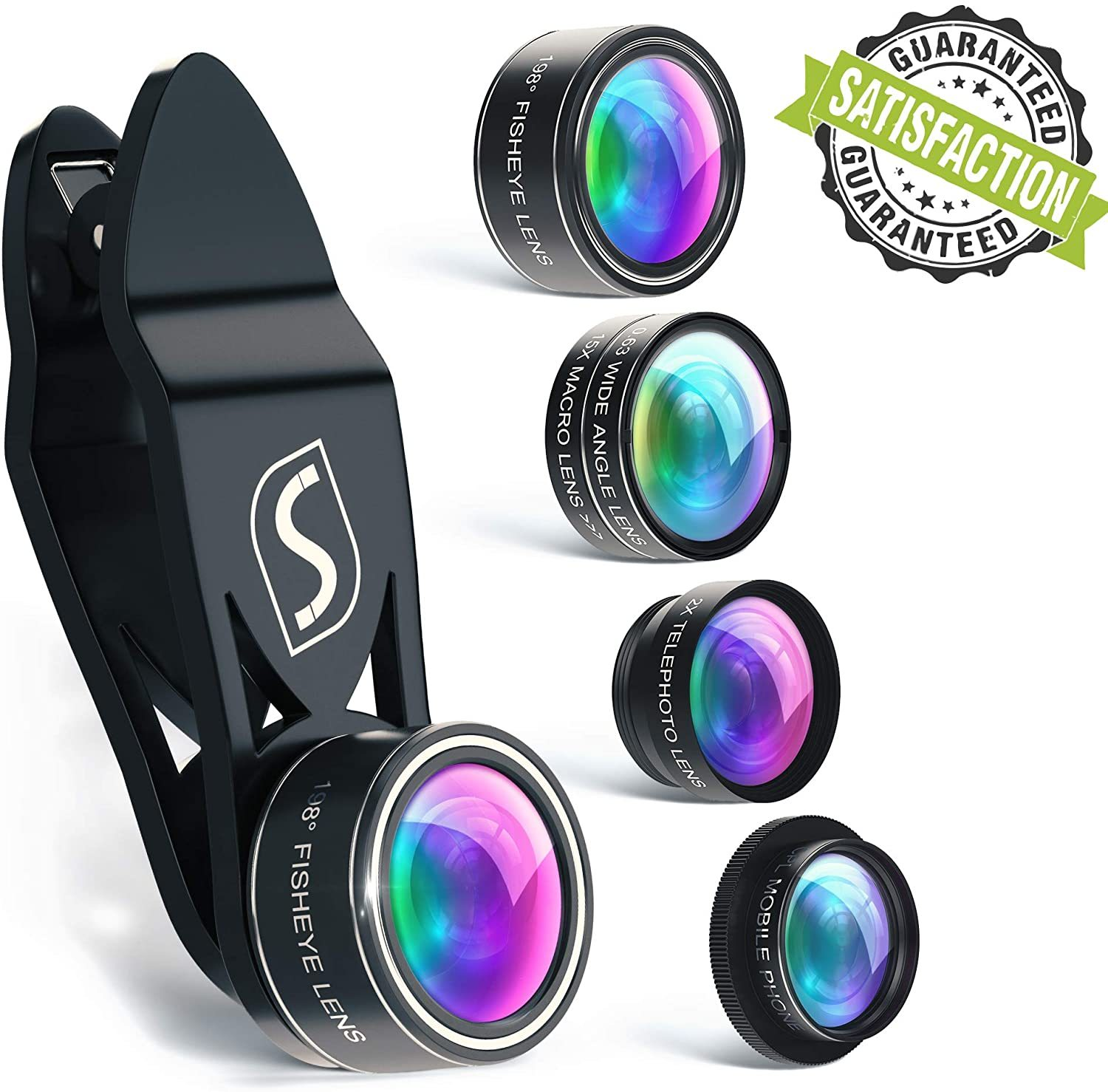 5 in 1 Phone Camera Lens Kit Optical Glass Attachment Set 2X Zoom 0.63X WA-Black - Cell Phone & Smartphone Parts