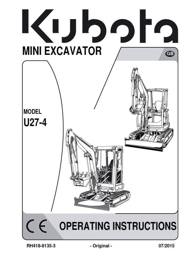 Kubota Mini Excavator U27-4 Operators Manual and 50