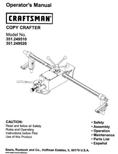 Sears Craftsman Lathe Copy Crafter Manual 351.249510