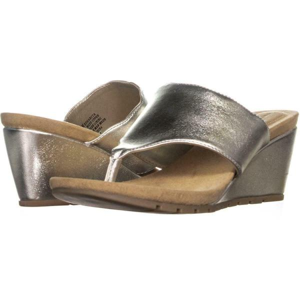 Bandolino Sarita Wedge Heel Flip Flops 333 Light Gold 8