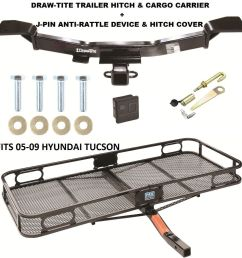 trailer hitch cargo basket carrier silent pin lock fits 05 09 hyundai tucson 375 42 [ 1193 x 1214 Pixel ]