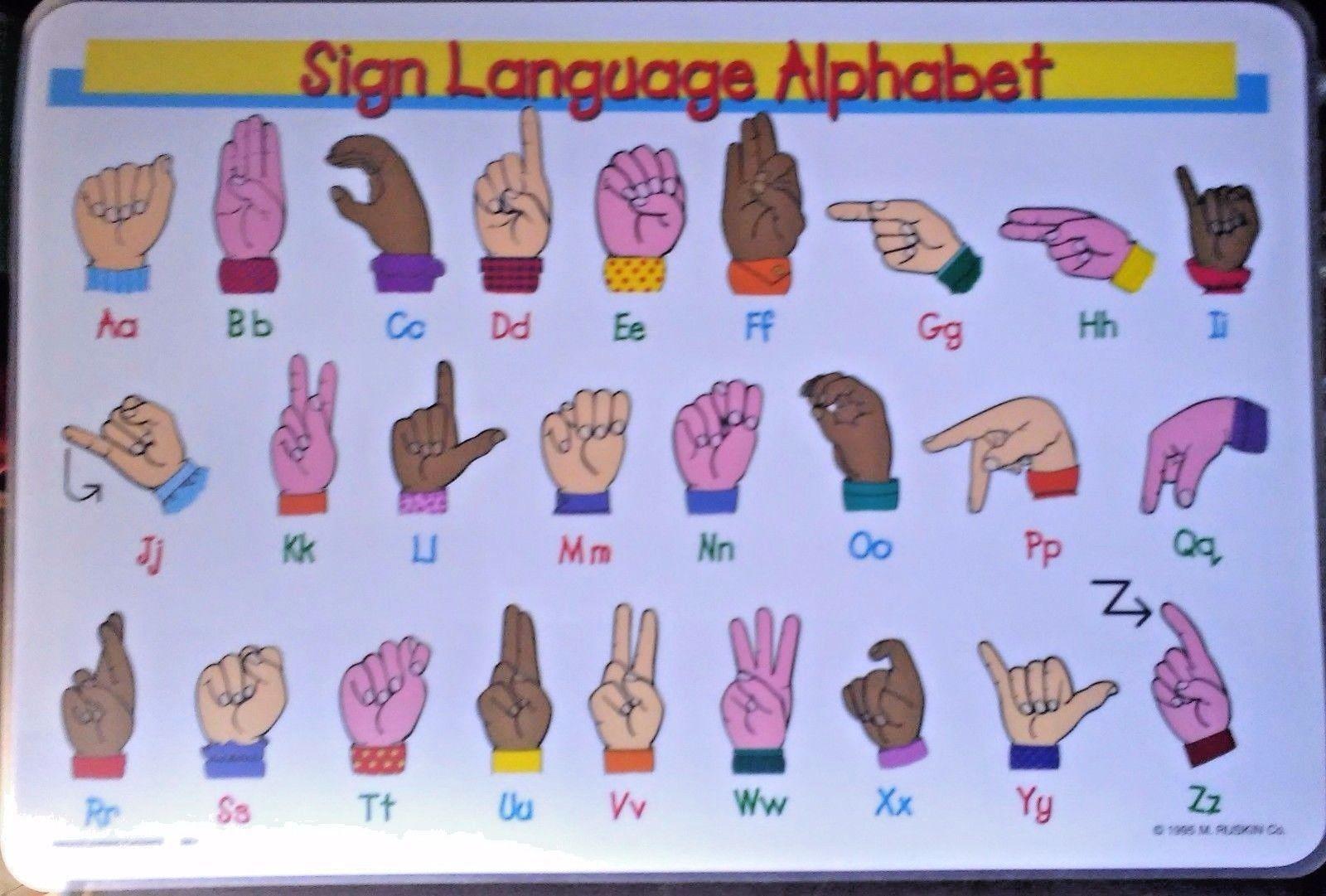 American Sign Language Alphabet Placemat Asl Multi Color
