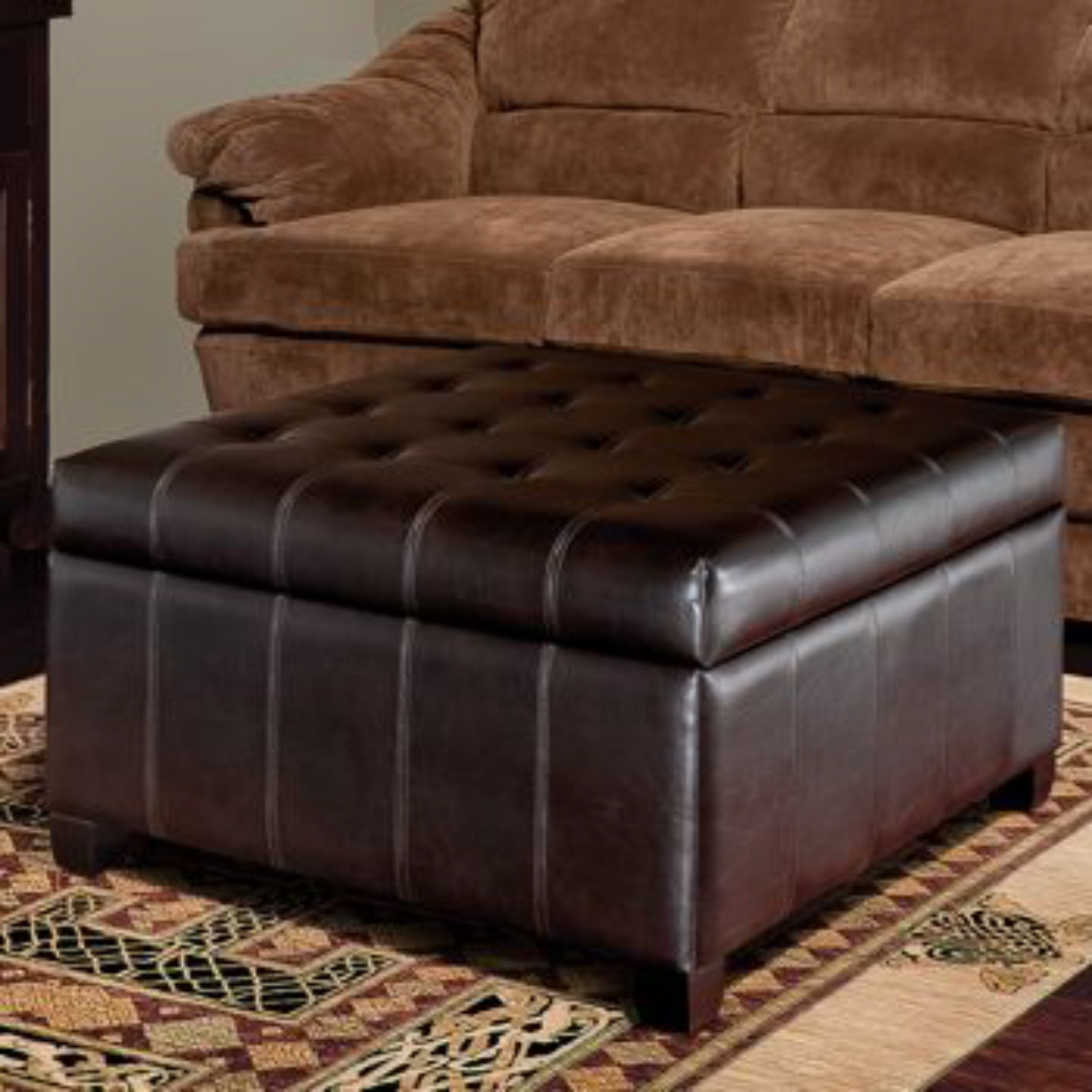 leather living room chair with ottoman glider rocker chairs isabella bonded storage new