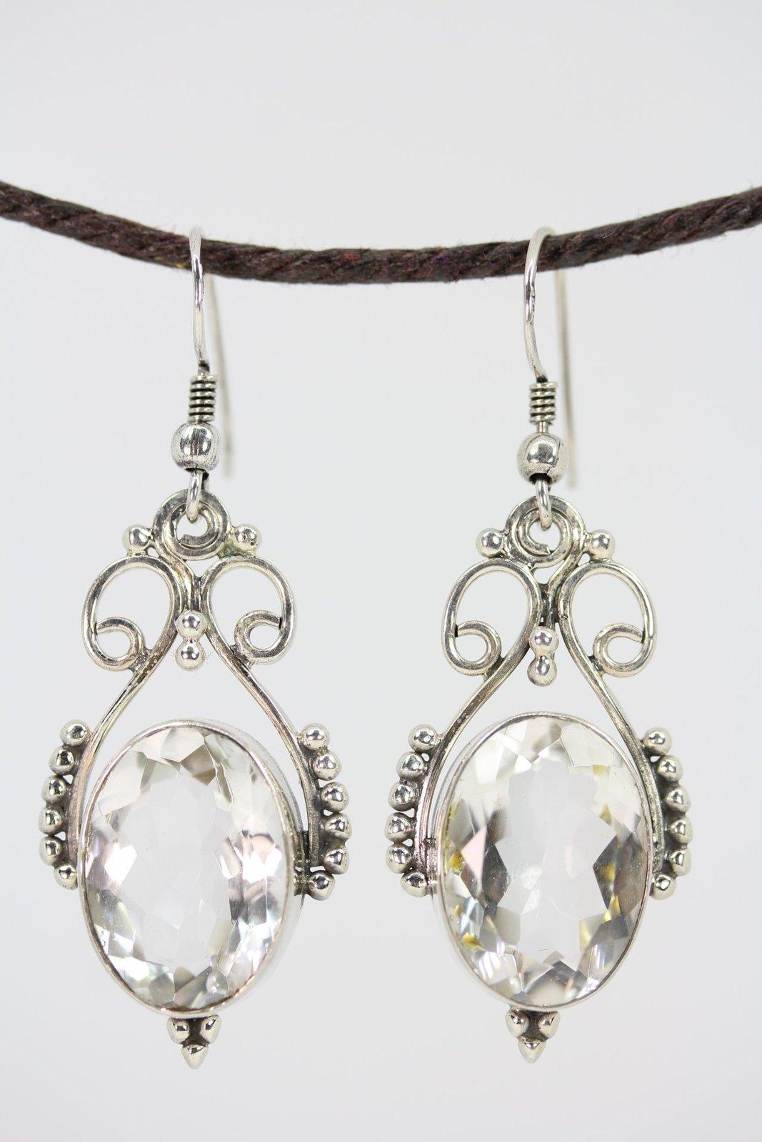 Open Work Clear Crystal Quartz Queenly Earrings - Genuine ...