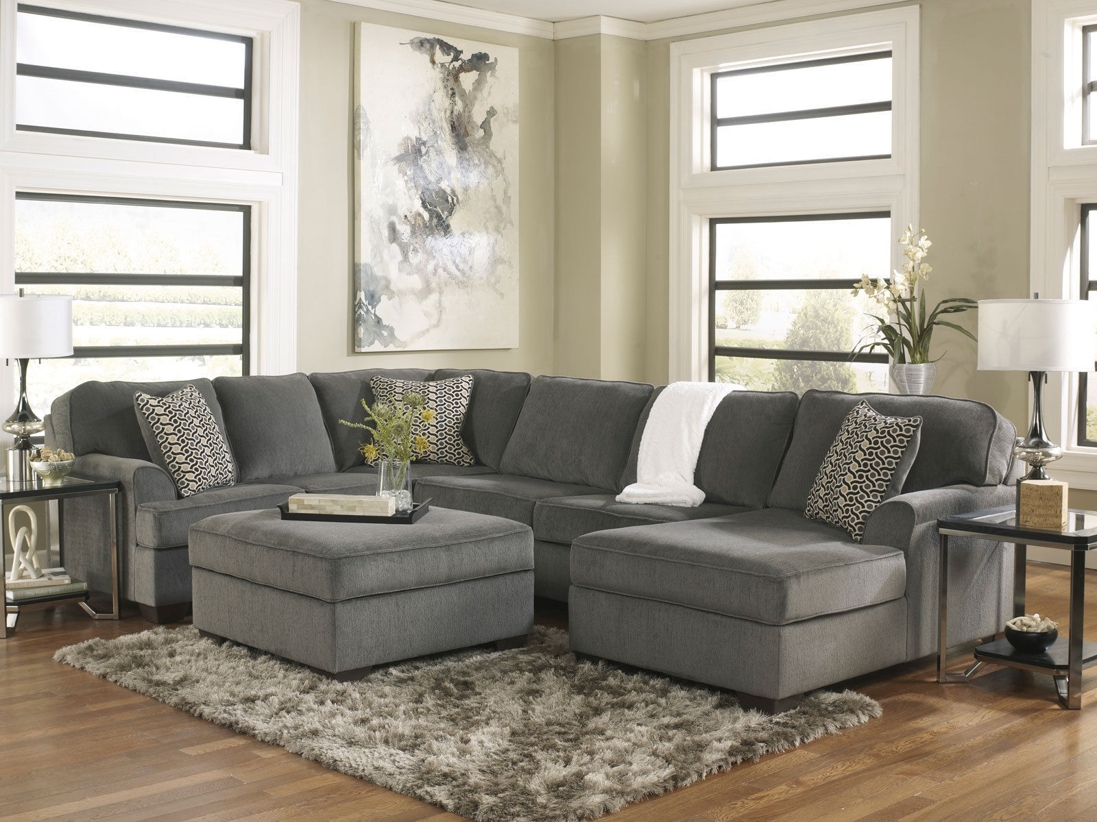 Soleoversized Modern Gray Fabric Sofa Couch Sectional Set
