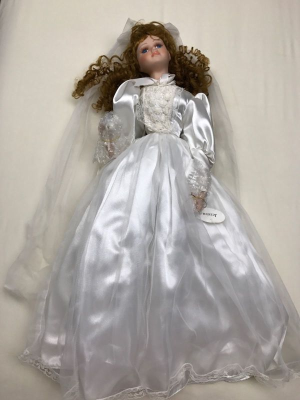 "Vintage Silvestri Porcelain Bride Doll Jessica 28"" With"