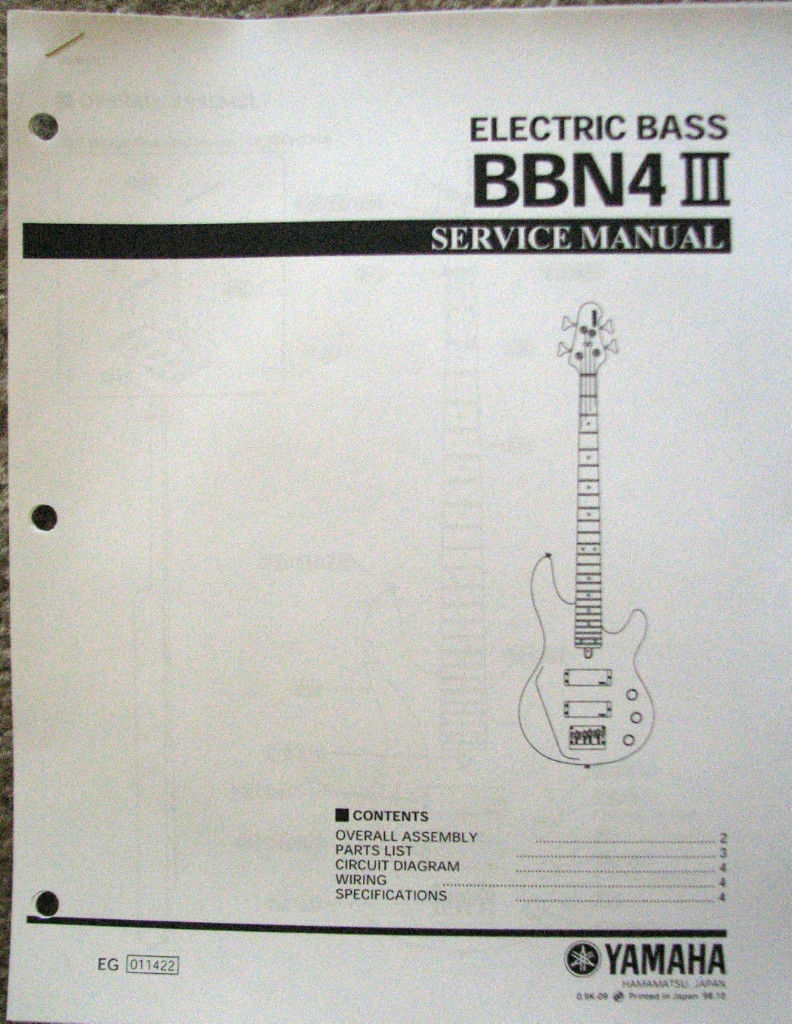 hight resolution of yamaha bbn4 iii bass guitar service manual and parts list booklet