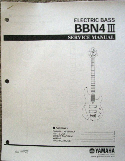 small resolution of yamaha bbn4 iii bass guitar service manual and parts list booklet