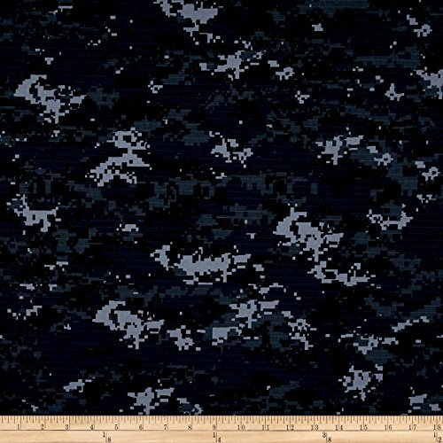Carr Textile Organic Cotton Ripstop US Navy Camo Fabric by