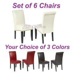 Dining Room Set With Accent Chairs Heavy Duty Barber Of 6 Eco Leather Parsons W Nail
