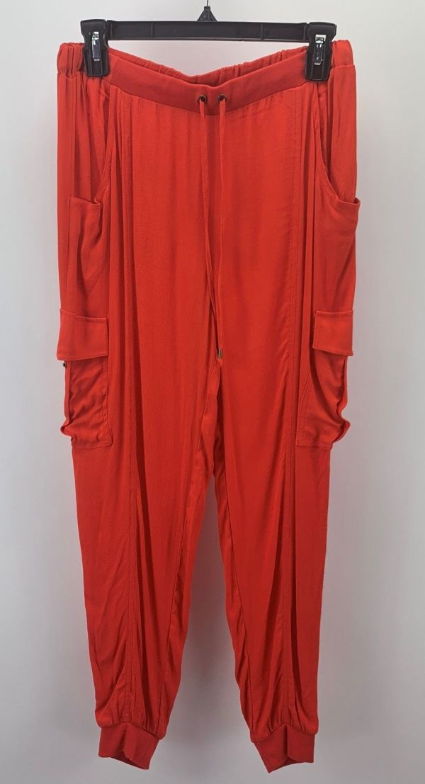Xoxo Juniors Ankle Cuff Soft Cargo Pants Red Orange