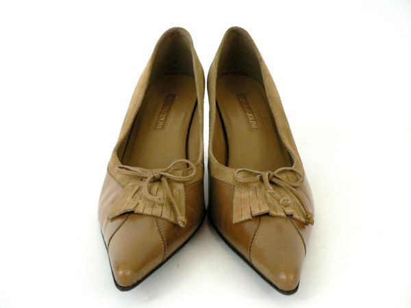Enzo Angiolini Womens Brown Leather Suede Pumps Heels