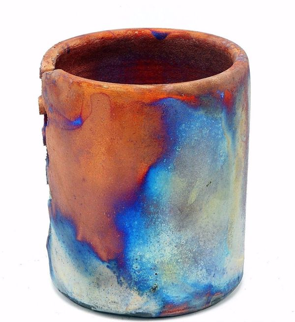 Raku Candle Holder Studio Art Pottery Iridescent Copper