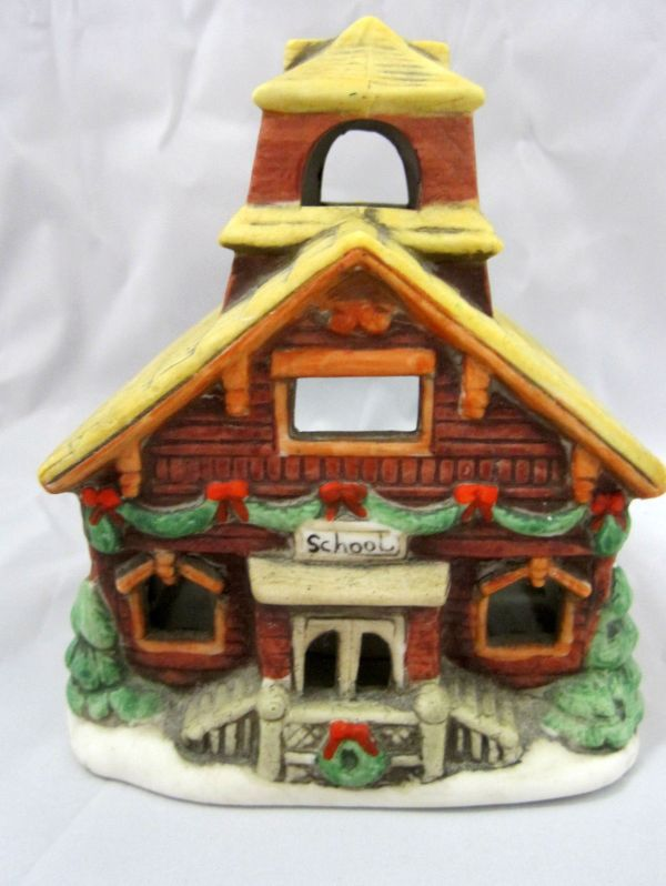 Lefton Christmas Village Candle Holder School House #05817