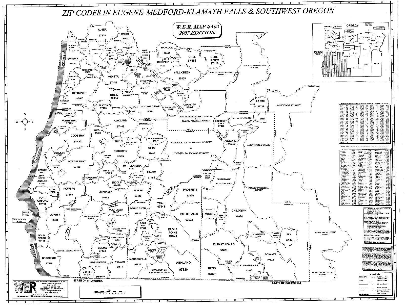 Eugene Medford Klamath Falls SW Oregon Laminated Zip Code