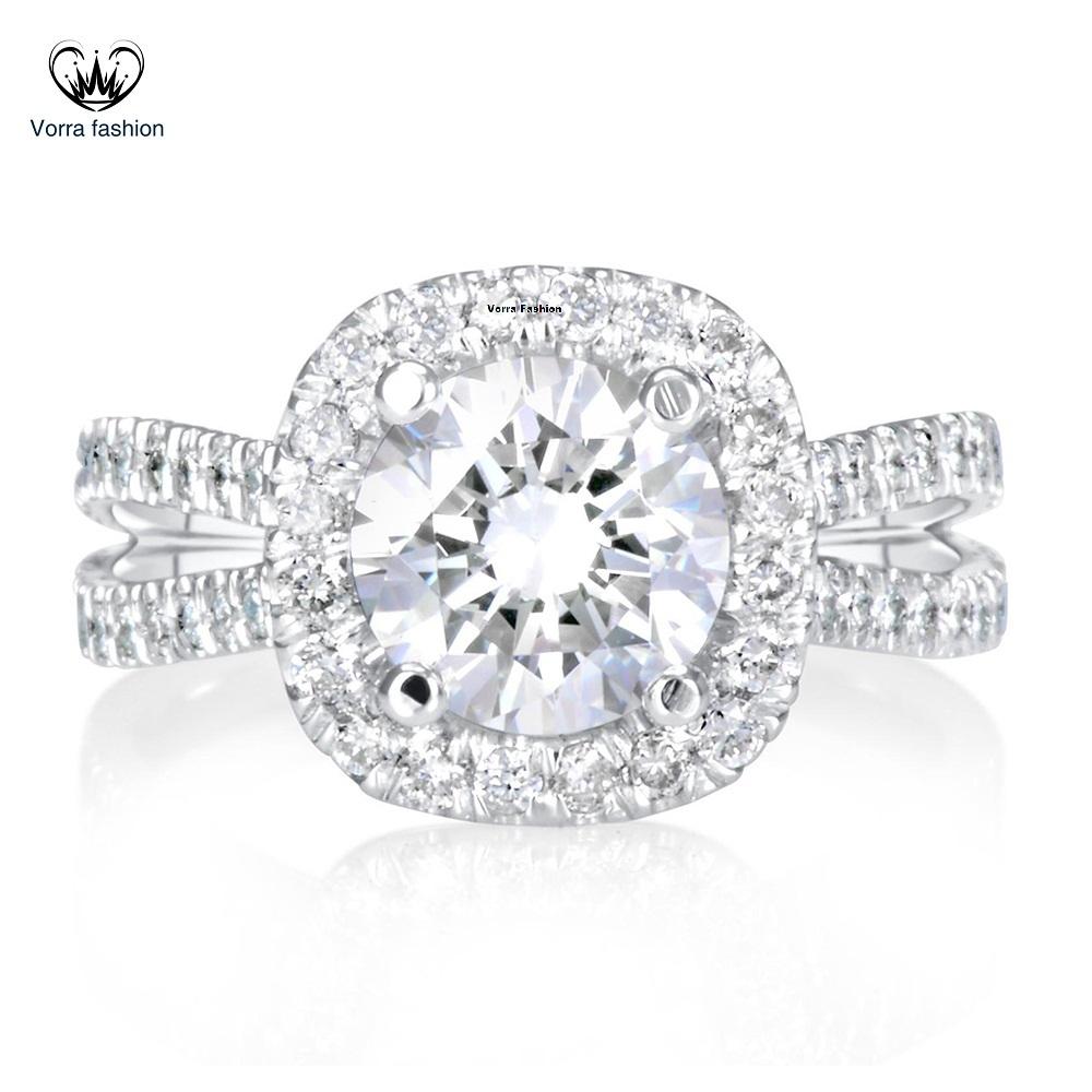 Engagement Wedding Ring Diamond 10k White Gold Plated Pure