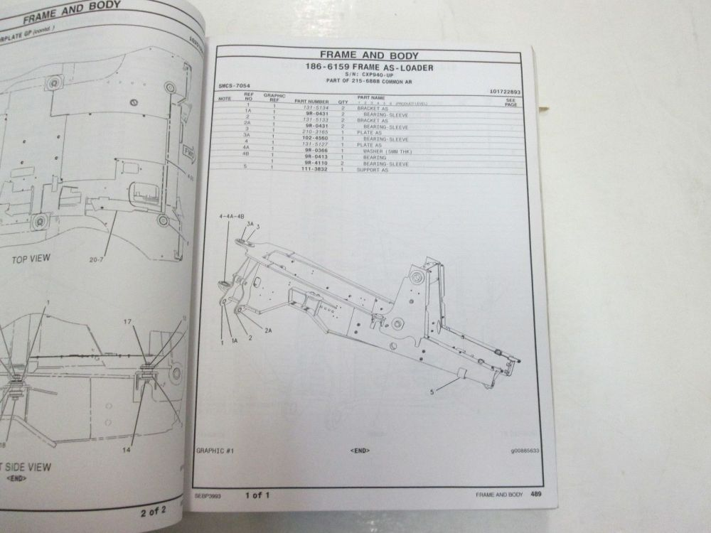 medium resolution of caterpillar 416b backhoe loader parts manual vol ii faded water damage stained
