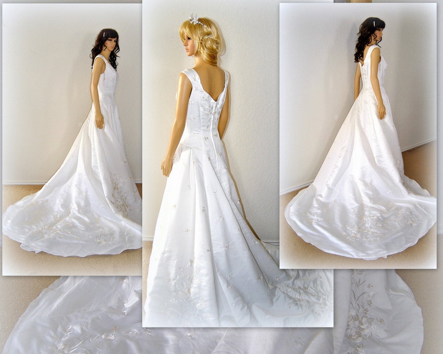 Royal Wedding Dress, Embroidery Ball Gown, Chapel Train