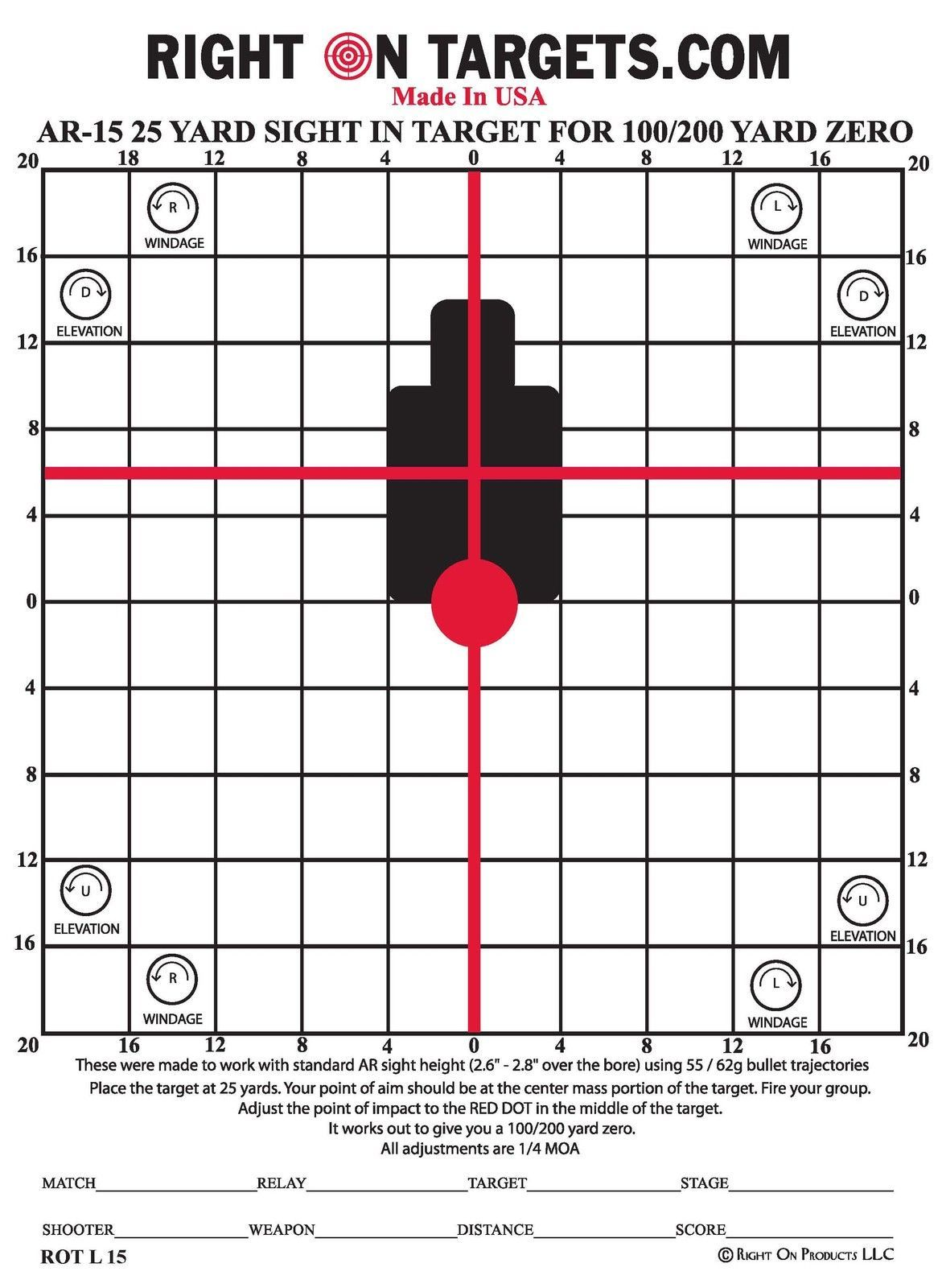 75 AR rifle sight in targets 25-yard (11x15) and 50