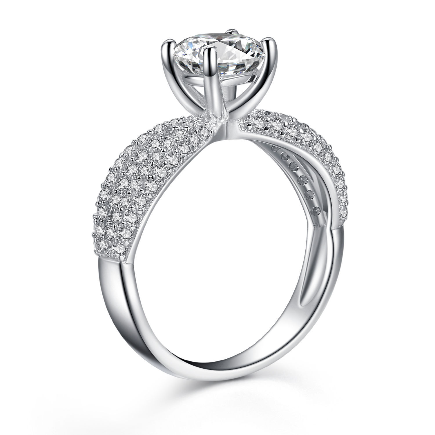 Women's 925 Sterling Silver Round Cubic Zirconia