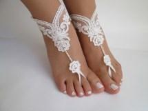 Beach Wedding Barefoot Sandals Bridal Ivory