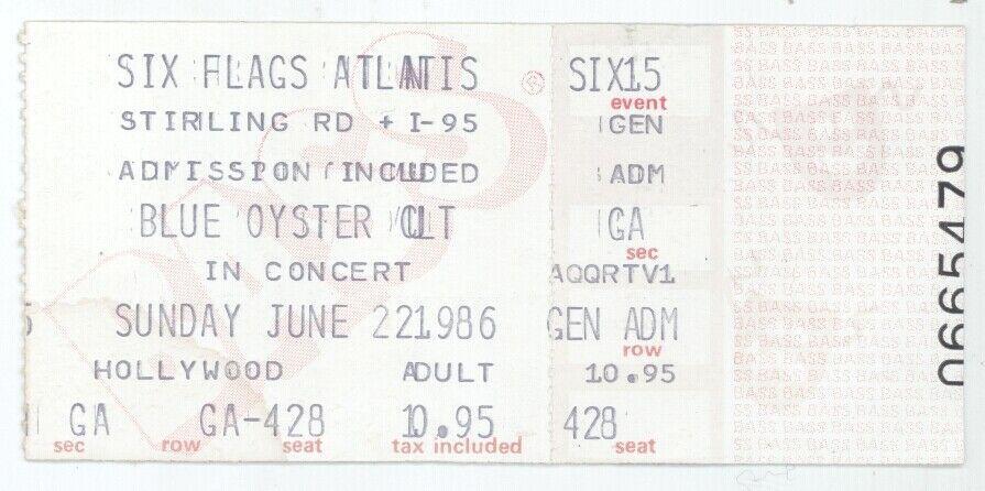Rare BLUE OYSTER CULT 6/22/86 Hollywood FL Concert Ticket